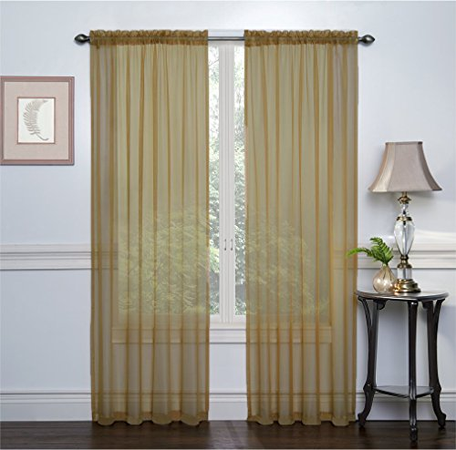 2 Pack: Ultra Luxurious High Thread Rod Pocket Sheer Voile Window Curtains by GoodGram - Assorted Colors (Antique)
