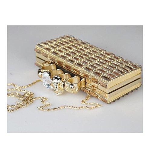 GSHGA Bolsos De Embrague De Las Mujeres Estilo Cuadrado Cabeza Del Cráneo Diamante De Cristal Bolso Cuadrado Pequeño,Gold Gold