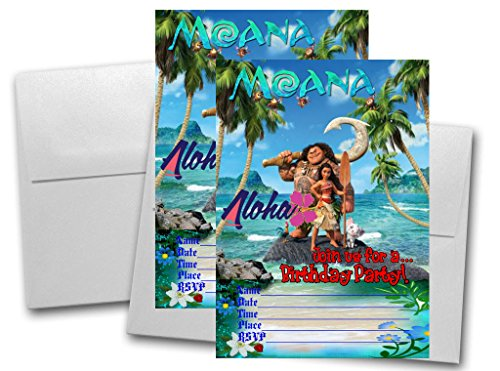 12 Moana Birthday Invitation Cards (12 White Envelops Included) -