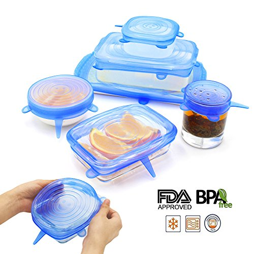 NEWBEA Silicone Stretch Lids,12-Pack of Various Sizes to Fit Various Size and Shape of Containers,Reusable, Durable and Expandable Food Covers As Seen On TV,Keeping Food Fresh, Dishwasher and Freeze