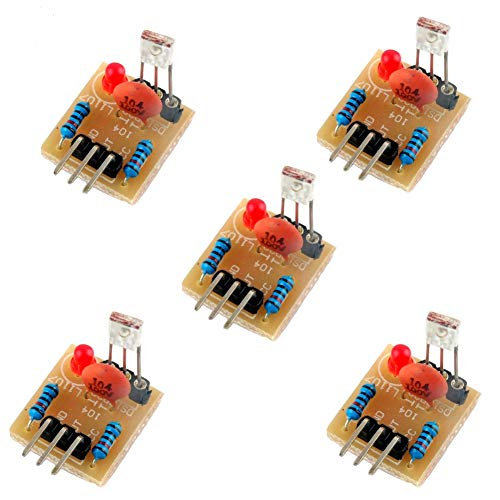 5V Laser Receiver Sensor Detection Module Non-Modulator Tube for Arduino Geekstory(Pack of 5)