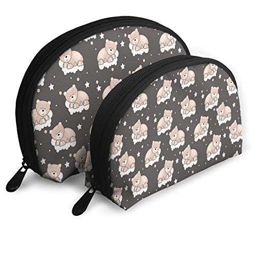 Shell Shape Makeup Bag Set Portable Purse Travel Cosmetic Pouch,Adorable Teddy Bears Sleeping On Clouds With Stars And Dots Night Time Dream,Women Toiletry Clutch ()