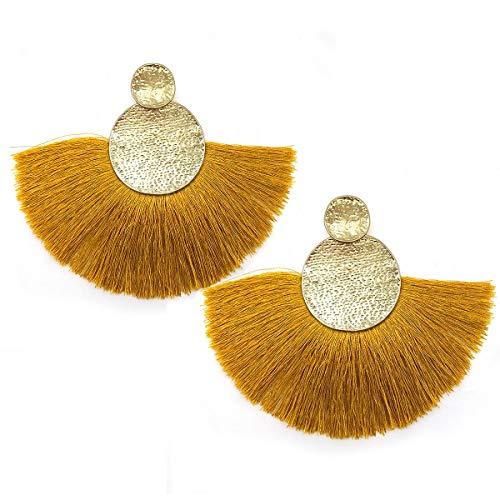 Circle Tassels Earrings, Tassels Pendant Earrings, Designer Tassels Jewelry Making By MeliMe (Dark yellow)