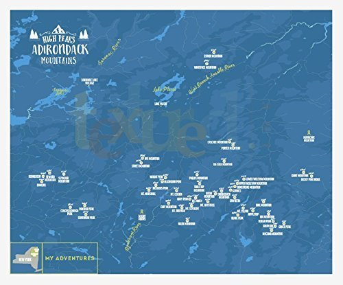 Amazon.com: Adirondack Mountains 46 Peaks, Hiking Map, Trail ...