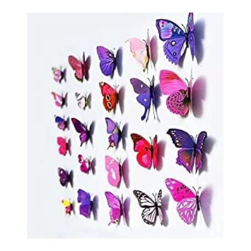 12pcs 3d art butterfly decal wall sticker home decor room decoration multi