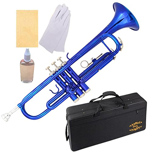 Glory Brass Bb Trumpet with Pro Case +Care Kit, Blue, More COLORS Available ! CLICK on LISTING to SEE All Colors by GLORY