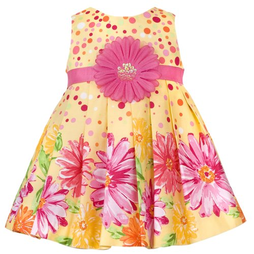 Rare Editions Baby/INFANT 12M-24M 2-Piece YELLOW FUCHSIA-PINK SCATTER-DOT FLORAL BORDER PRINT Special Occasion Flower Girl Easter Party Dress.