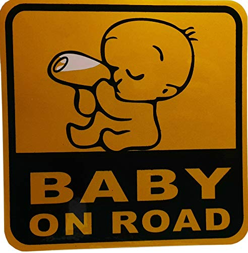 Baby in Car Waving Baby on Board Safety Sign Cute Car Decal/Vinyl Sticker (1pcs(Baby on Road))