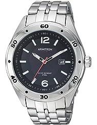 Armitron Mens 20/5253BKSV Solar Powered Date Calendar Dial Silver-Tone Bracelet Watch