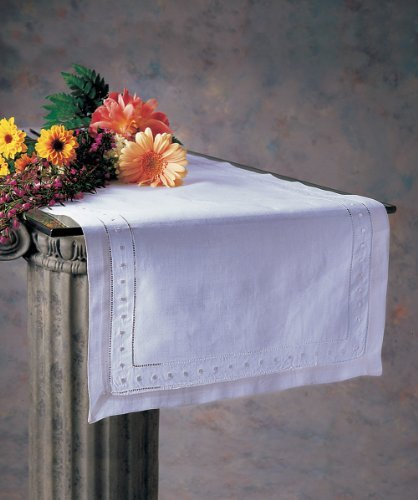 Fennco Styles Hand Hemstitched and Embroidered Swiss Dot Table Runner. (16