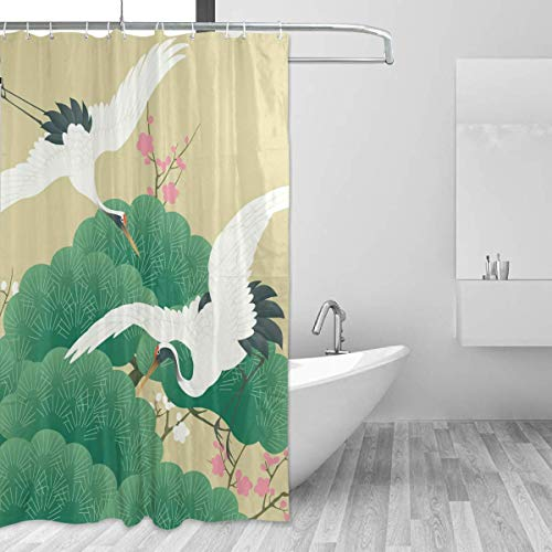 SZZWY Floral Traditional Cranes Shower Curtain 3D Printing Waterproof Coated Polyester Fabric Bathroom with 12 Hooks 71 inches