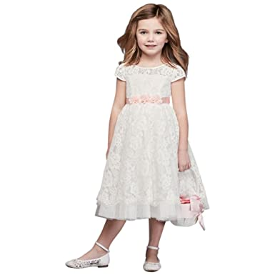 a2979bd3c45 Lace Flower Girl Communion Ball Gown with Illusion Sleeves Style RK1381