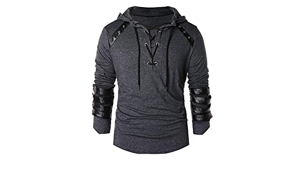 Amazon.com: Colorful-Day Mens Hoodies Leather Patchwork Lace Up Hoodie Men Drawstring Hoodie Pullover Sweatshirt Full Sleeve,Clear,S,C: Clothing