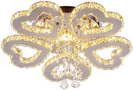 LED Crystal Chandelier Modern Ceiling Light 5-Heart Shape Chandelier Lighting Fixture Flush Mount Pendant Light