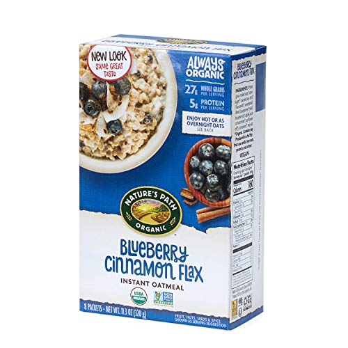 Natures Path Flax Cereal - Nature's Path Blueberry Cinnamon Flax Instant Oatmeal, Healthy, Organic, 8 Pouches per Box, 11.2 Ounces (Pack of 6)