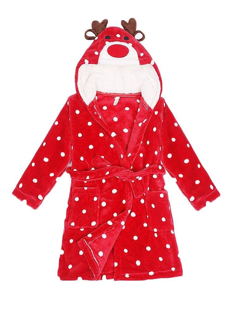 Childrens Kids 3-8 Years Dressing Gown Flannel Bath Robe Animal Towel Sleepwear Pyjamas
