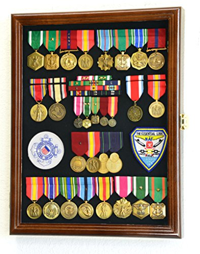 - Military Medals, Pins, Patches, Insignia, Ribbons, Flag Display Case Cabinet, Walnut
