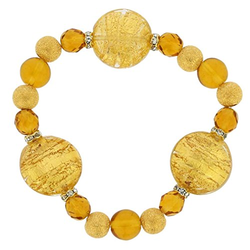 Gold Glass Bracelet Murano (GlassOfVenice Murano Glass Magic Bracelet - Sunshine Gold)