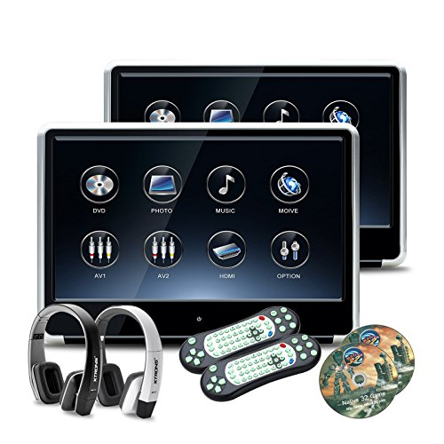 XTRONS 2 x 11.6 Inch Pair 19201080 HD Digital TFT IPS Touch Screen Car Headrest DVD Player with HDMI Port 1080P Video