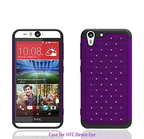 HTC Desire Eye 4G LTE Case, Defender Bling Hybrid Gel Protector Diamond Hybrid Cover (PURPLE ON BLACK SKIN)