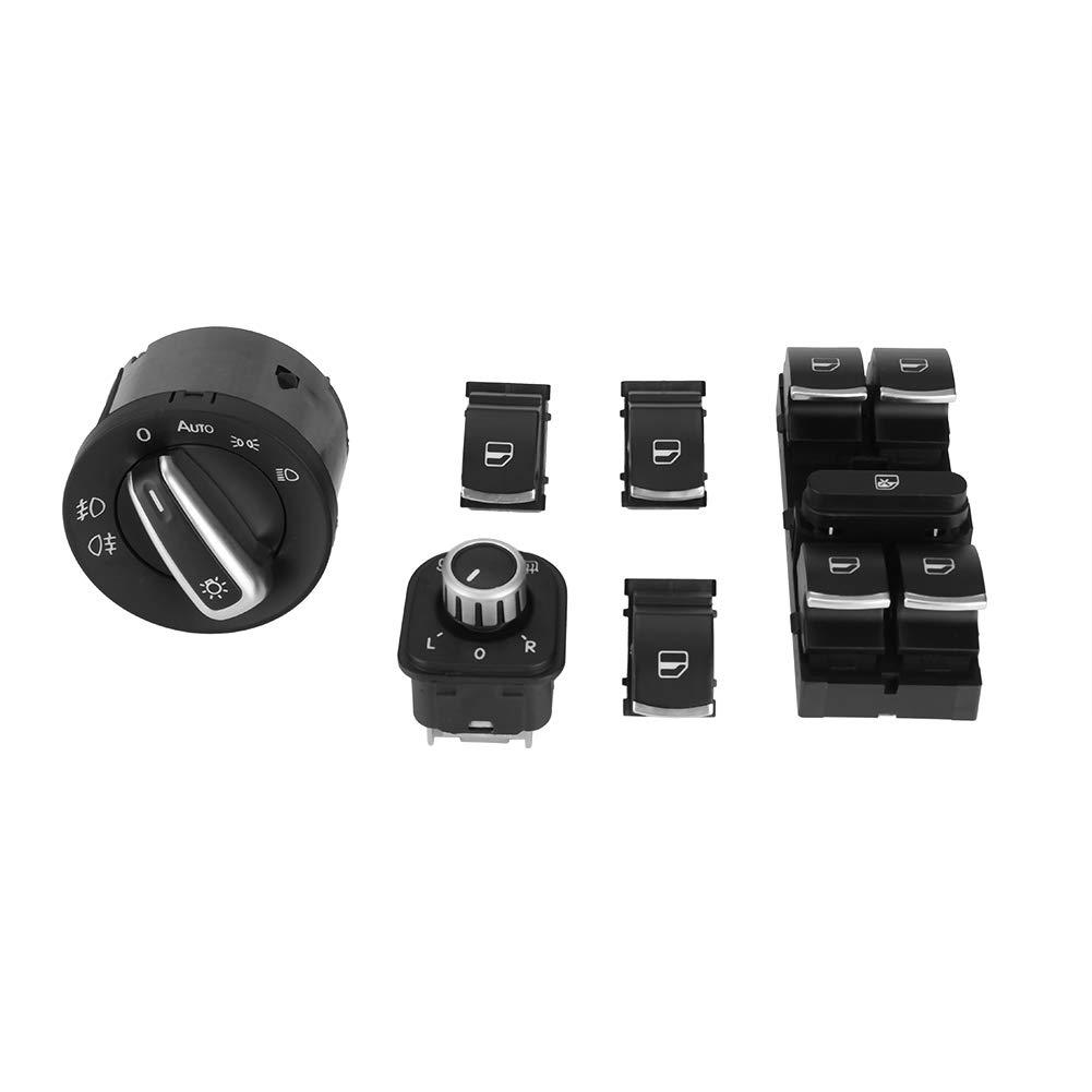 KIMISS 6Pcs Car Headlight Rearview Mirror Power Windows Switch Button Control for VW Passat CC Jetta