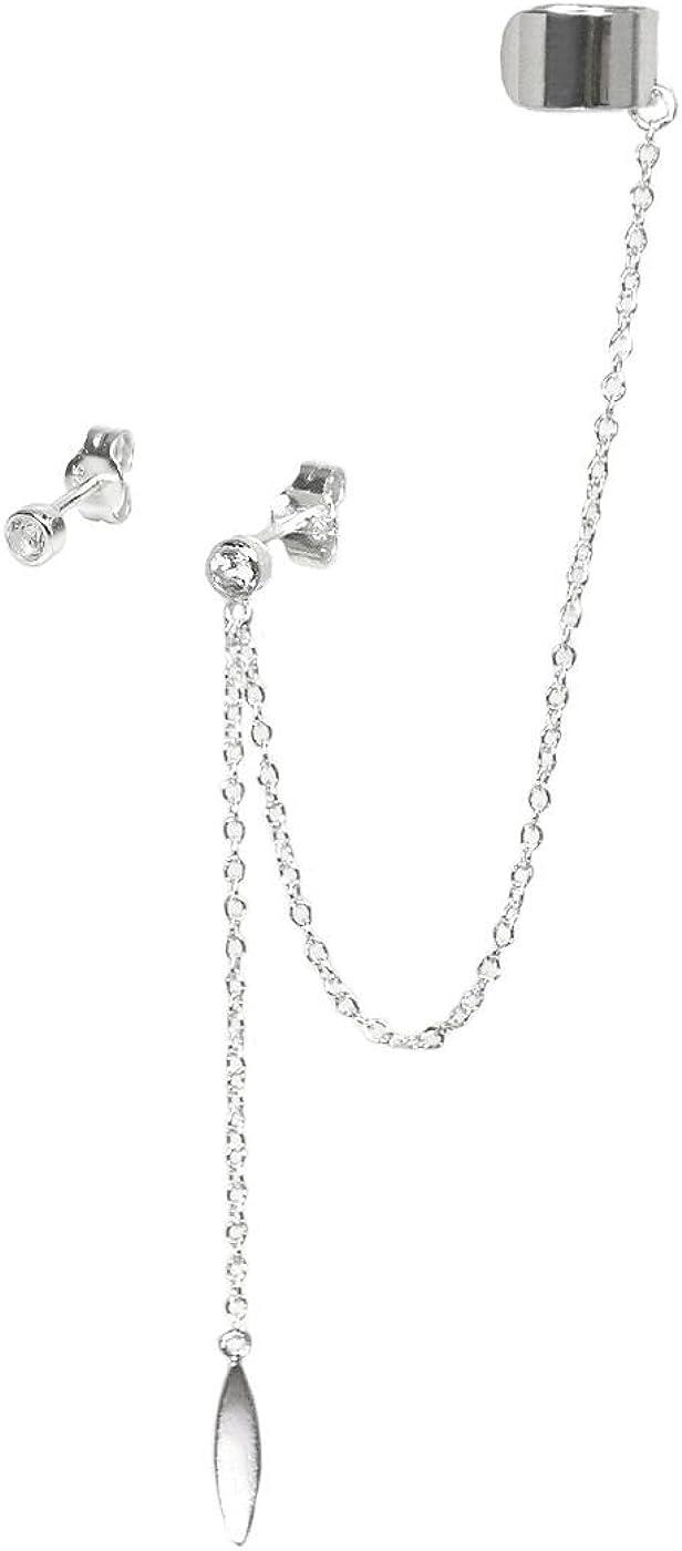 Pendientes con clip y cadena de Queenberry, con colgante de cristal de circonita con forma de hoja, hecho de plata de ley 925