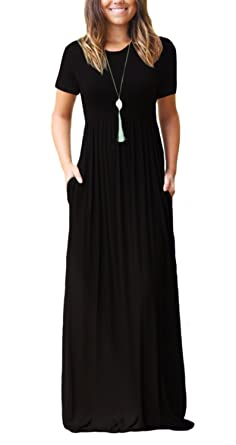 DEARCASE Women Short Sleeve Loose Plain Maxi Dresses Casual Long ... b8e01aa18