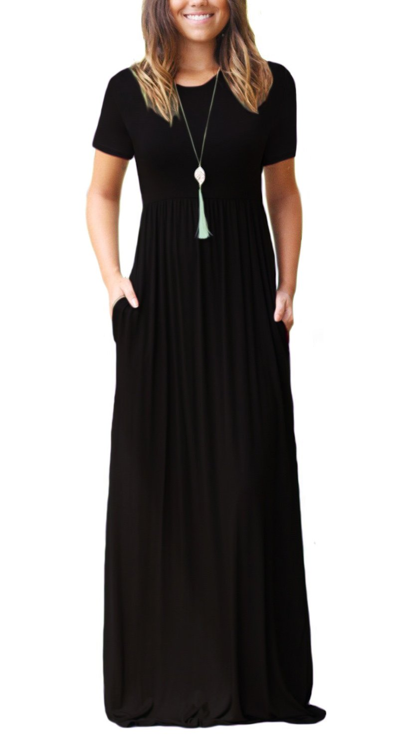 Women's Round Neck Short Sleeves A-line Casual Maxi Dresses with Pocket Black XX-Large