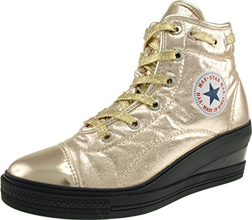 Maxstar Heels Lace Leather top Shoes Synthetic Low Wedge High Zipper Round Gold wC4qwx61O