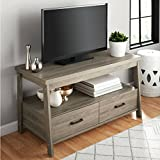 Sturdy Wood Construction 47'' Rustic Oak TV Stand with Two Storage Drawers