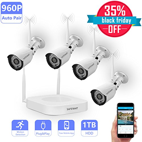 Wireless Security Camera System,Safevant Full-HD 8CH Video Security System with 4pcs 960P Wireless Security Cameras,65ft Night Vision,1TB HDD Pre-installed ,Auto-Pair,Plug&Play by SAFEVANT