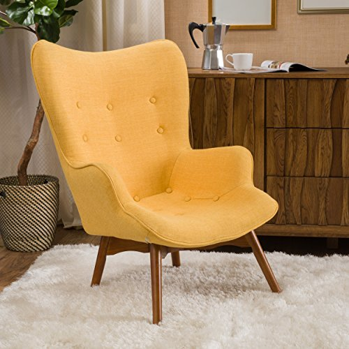Photo Christopher Knight Home Hariata Fabric Contour Chair, Muted Yellow
