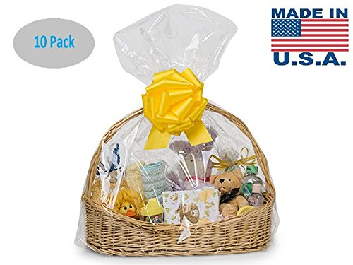 Clear Cellophane Bags Basket Bags Cello Gift Bags Extra Large 24in. X 30in. 10 Pack (Gift Basket Basket)