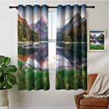 PRUNUSHOME Swiss Lake Sunrise Short Curtains for Kitchen, Kitchen Cafe Curtains Half Window Treatments Home Fashion Drapes for Small Windows(Set of 2 Panels,42 by 72 Inch)