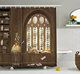 Ambesonne Gothic Decor Shower Curtain, Room for Study in Medieval Library with Cat Sleeping on Window Antique Mansion, Fabric Bathroom Decor Set with Hooks, 75 inches Long, Taupe