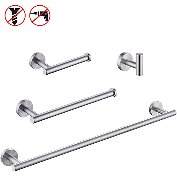 Toiltory Brush Finish 304 Stainless Steel Bathroom Wall Mounted Towel Ring Holder Organizer Polished Chrome Towel Rail Holder Easy to Install Water and Rust Proof