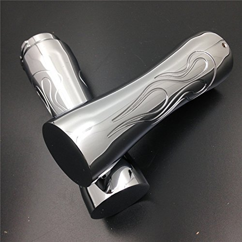 Motorcycle Motorcycle Flame Style 1'' Hand Grips For Harley Sport Tour Glide Fxrt Chrome NEW