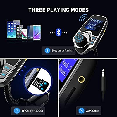 VicTsing Bluetooth FM Transmitter, Wireless in-Car Audio Adapter/w USB Port, Support AUX Input 1.44 Inch Display TF Card Slot - Silver Grey