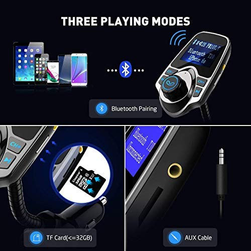 VicTsing Bluetooth FM Transmitter, Wireless In-Car Radio Transmitter Adapter /w USB Port, Support...