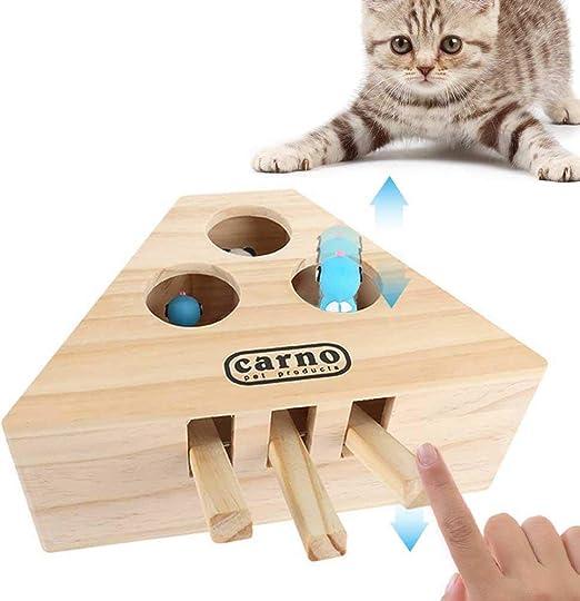 BluCos Juguete Interactivo para Gatos, Juguetes sólidos de Madera para Gatos Juguetes Divertidos para Gatos Juguete para Golpear un Topo Caja de Rompecabezas para Ratones Caza de Gatitos Jugar: Amazon.es: Productos para