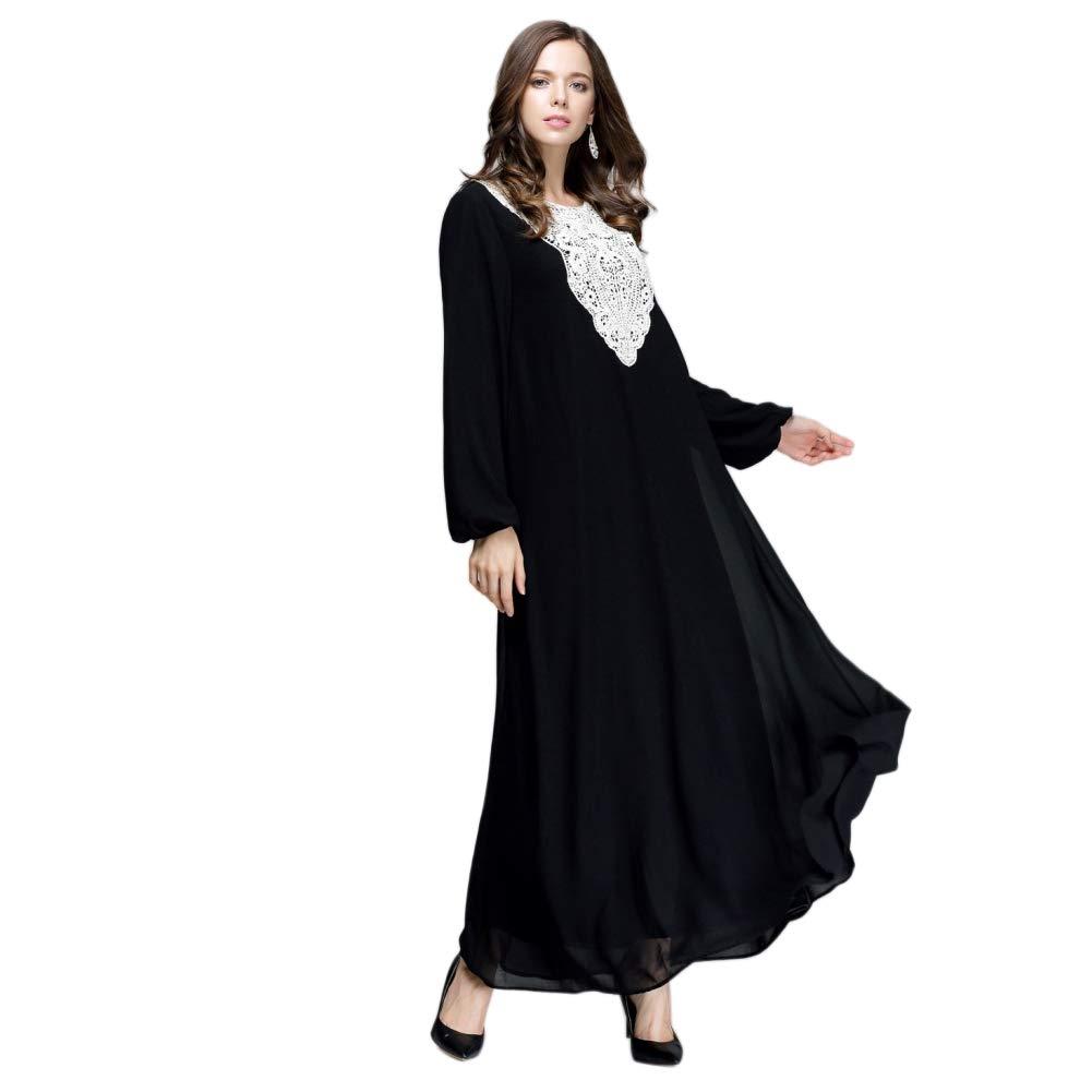 Vestito a Maniche Lunghe Arabo Abaya Islamico Abbigliamento Etnico Meijunter Abito da Donna Musulmana