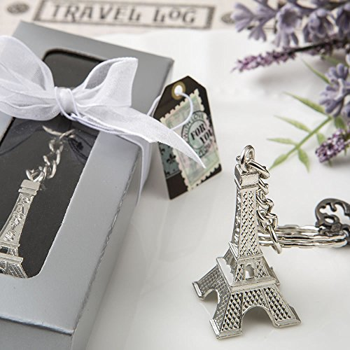 Theme Key Box - Eiffel Tower Metal Key Chains In A Favor Box, 48