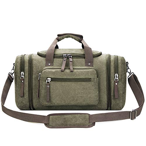 Toupons 20.8'' Large Canvas Travel Tote Luggage Men's Weekender Duffle Bag (Army Green)
