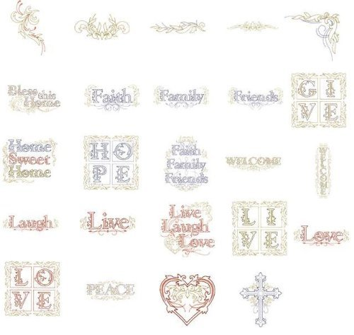 OESD Embroidery Machine Designs CD LIVE LOVE LAUGH (Pes Embroidery Card)