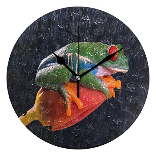 NMCEO Wall Clock Frog Eye Red Tulip Animal Round Hanging Clock Acrylic Battery Operated Wall Clocks for Home Decor Creative