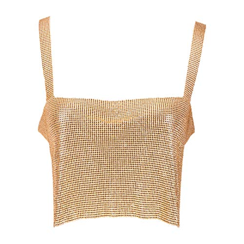 Naimo Women Sexy Shiny Chain Metal Sequin Blouse Vest Crop Top Sleeveless T-Shirt (Gold)