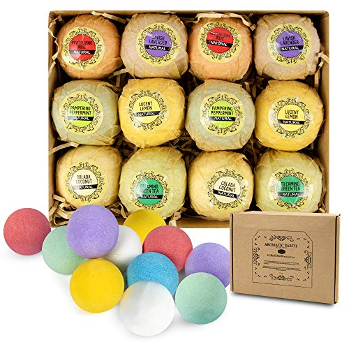 PTAustralia Aromatic Earth Bath Bombs All Natural and Vegan Fizzy Gift Set of 12 Great for Kids Perfect for Women and - Bath Aromatic