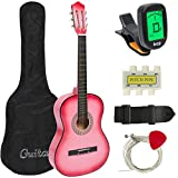 Best Choice Products Beginners Acoustic Guitar with Case, Strap, Digital E-Turner, Tuner and Pick, Pink
