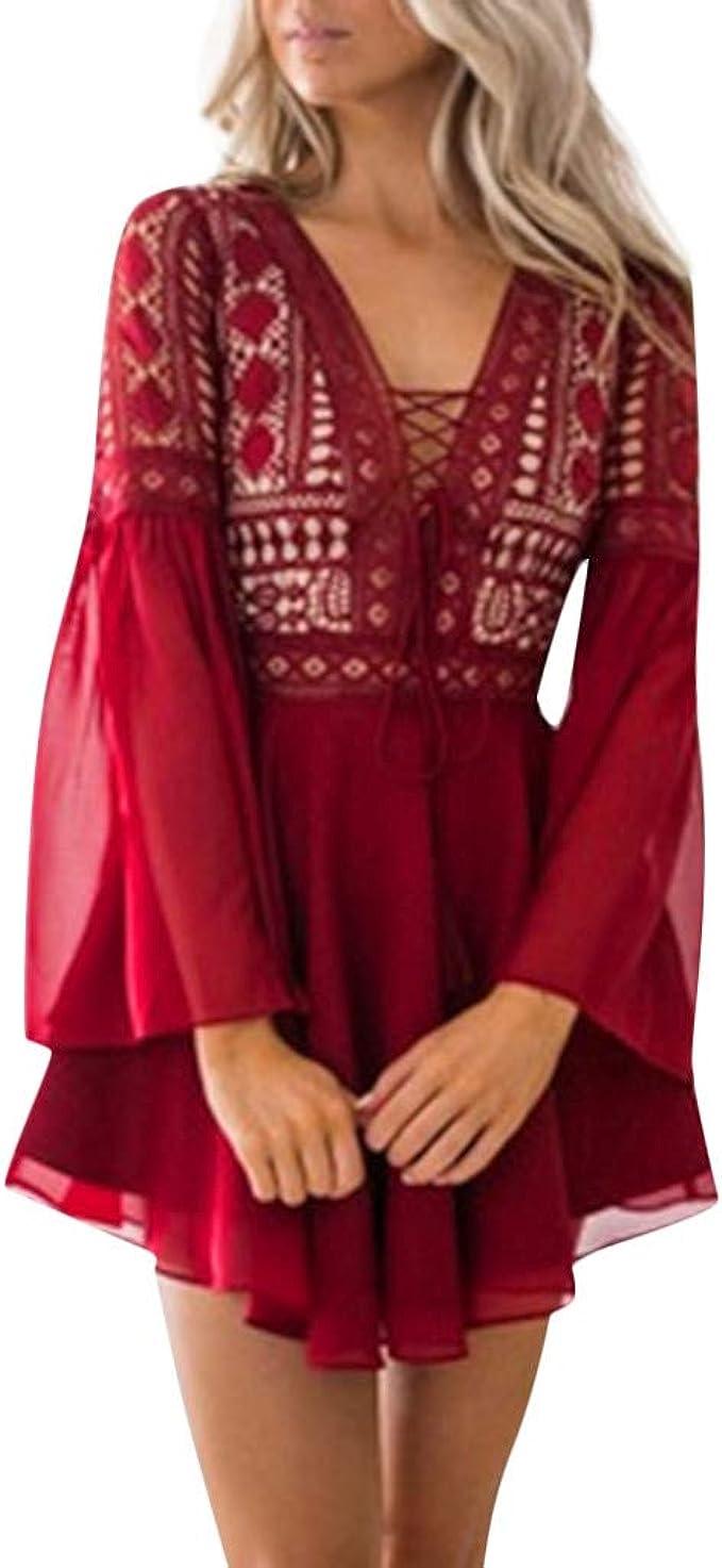 Yuwegr Frauen Cocktail Party Kleid Spitze Langarm V-Ausschnitt Bleistift  Dress Verband Kleider Damen Sommer Minikleid Abendkleider S-XL