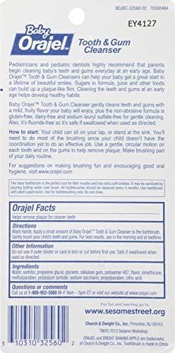 51qoRy6UG5L. AC - Orajel Elmo Fluoride-Free Tooth & Gum Cleanser 1.0 Oz. With Toothbrush, Banana Apple, 1 Oz.